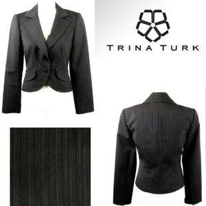 Trina Turk gray multi color stripe blazer jacket